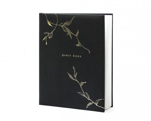 """Gästebuch mit Ranken """"guest book"""" Hochzeit schwarz/gold (VERKAUF)"""