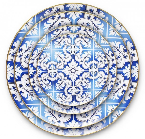 """Porzellanplatzteller """"LISSABON"""", blau-weiss-gold"""