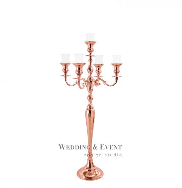 5-Arm-Kerzenständer inkl. Glasaufsatz, 80cm, roségold