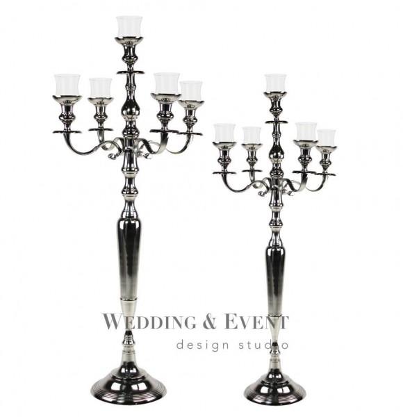 5-Arm-Kerzenständer inkl. Glasaufsatz, 100cm, silber