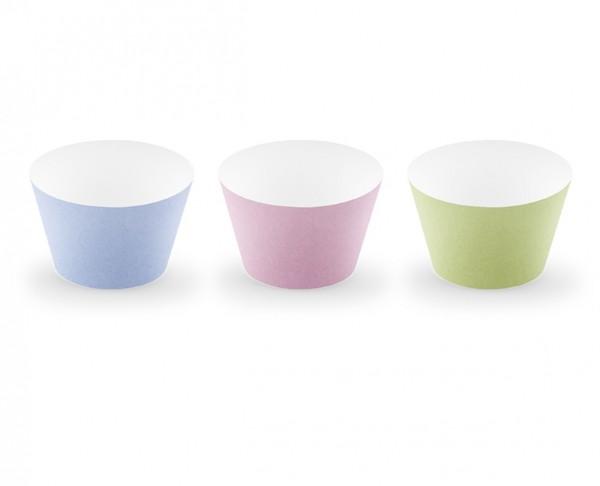 Cupcake Wrapper in 3 Pastellfarben - 6 Stück (VERKAUF)