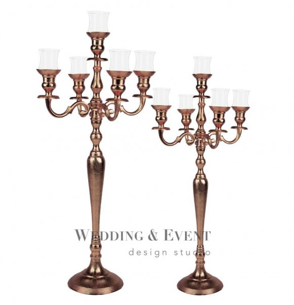 5-Arm-Kerzenständer inkl. Glasaufsatz, 100cm, kupfer