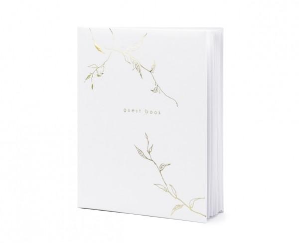 """Gästebuch mit Ranken """"guest book"""" Hochzeit weiss/gold (VERKAUF)"""