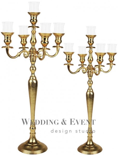 5-Arm-Kerzenständer inkl. Glasaufsatz, 100cm, gold