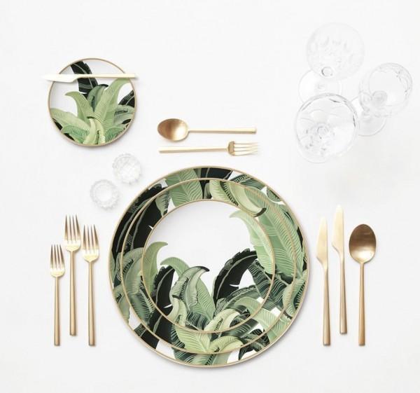 """Porzellan-Hauptgangteller """"PUNTA CANA"""", weiss-grün-gold"""