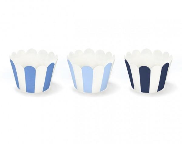 Cupcake Wrapper mit Streifen blau - 6 Stück (VERKAUF)