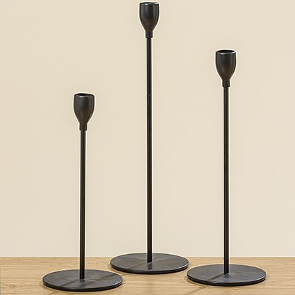 "3tlg. Kerzenständer-Set ""BLACK SYMPHONIE"", 30, 25, 20,5cm"