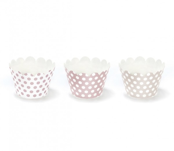 Cupcake Wrapper mit Punkten rosa - 6 Stück (VERKAUF)