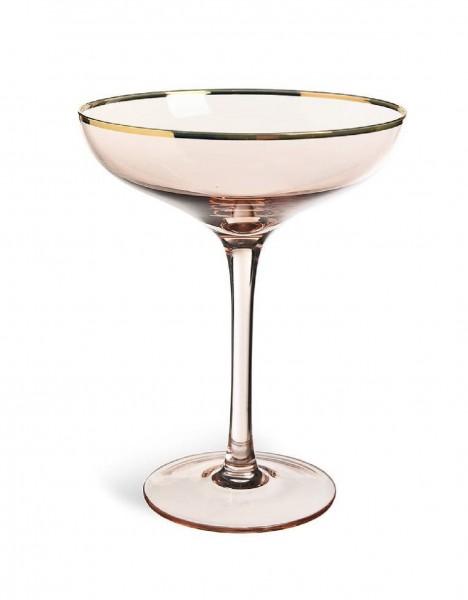 """Champagner-Schale """"LINDA"""", rosé mit goldenem Rand"""